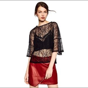 2/$20 Zara Black Lace Top